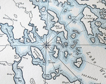 Lake Winnipesaukee, New Hampshire Letterpress Map Print (Navy)