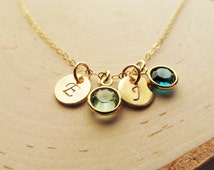 Mothers Birthstone Necklace, 14kt Gold Filled Birthstone Initial Charm Necklace, Personalized Mothers Jewelry, 1-6 Birthstones, Gift for Mom
