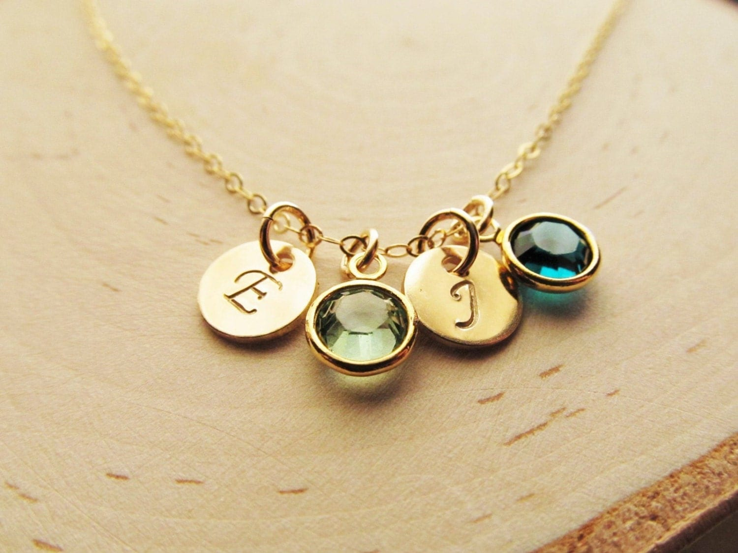 mothers birthstone necklace 14kt gold filled with initial. Black Bedroom Furniture Sets. Home Design Ideas