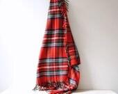 Vintage Plaid 100% Wool Blanket / Red Plaid / Tartan Plaid