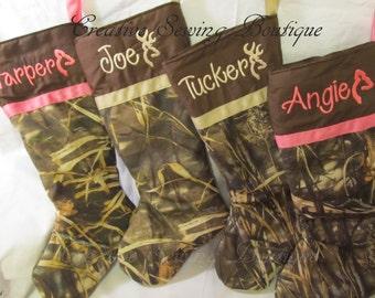 max 4 camo stocking, Camo Christmas stocking, Choice of ribbon, Christmas stocking, Christmas, choice of name and color with buck