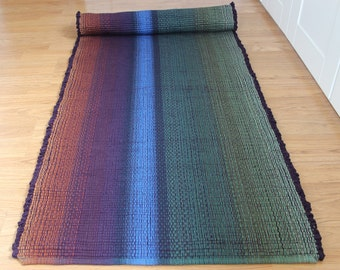 Woven Cotton Rag Rug Runner in Sage, Blue and Eggplant Machine Washable Rag Rug 2' x 6'