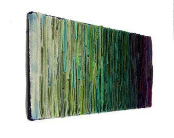 Felted Wool Fiber Art / Abstract Wallhanging / Green Plum Textile Art / Spring Showers