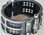 Machined Aluminum Grid Iron Cuff - Antiqued Silver