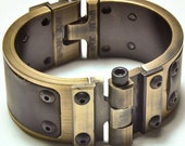 Machined Aluminum Cuff with Leather Inlay - Antiqued Brass