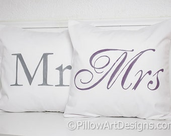 Grey Purple Pillow Covers Couples Pillow Covers Mr and Mrs 16 X 16 Made in Canada Ready to Ship