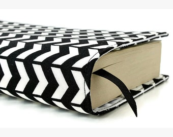 """Paperback book cover for MASS MARKET books - Fits smaller books measuring approximately 4.125"""" wide x 6.75"""" tall - Black and White Chevron"""