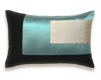 Color Block Pillow in Duck Egg Blue Cream Beige Black Pillow Cover 12 x 18 inch Modern Design
