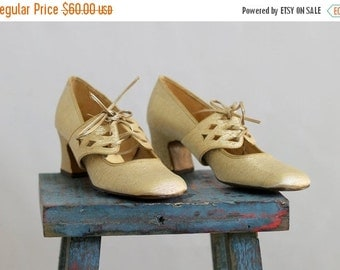 Vintage 1960s Shoes Mary Jane Pumps Heels Corset Shoes Chunky Heel Metallic Silver Shoes Mod Pumps Tie Front Size Size 6 Euro 36