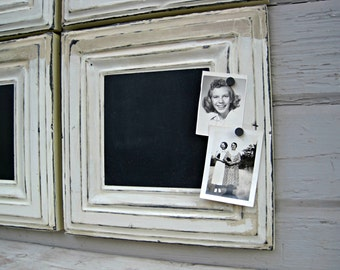 Framed Magnetic Chalkboard, Salvaged Tin ceiling Tiles, Rustic Vintage Chalkboard. Black and white kitchen office. Chalkboard wedding signs.