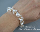 Bridal bracelet, Ivory cream white pearls bracelet, Wedding jewelry, Sterling silver or 14k gold filled, Wire wrapped, Bride jewelry, Dangle