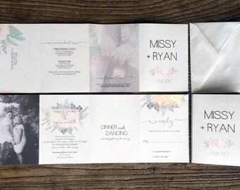 Wedding Invitation Suite · Eucalyptus  & Coral Watercolor Floral  ·  unique accordion fold wedding invitations (204)