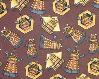 """DOCTOR WHO, EXTERMINATE, Action Heros Comic Books Pattern Fabric, Cotton Fabric , 18"""" X 44"""", 1/2  Yard, New, Rare"""