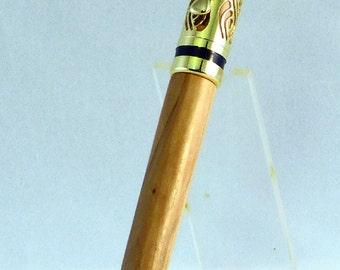 24lt Gold Americana Filagree Twist Pen - Bethlehem Olive Wood