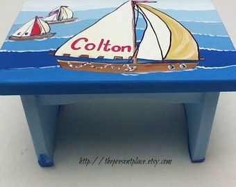 personalized,customized sail boat step stool,sail boat,blue seas,brown boat,boys bench,kids stepstools,children's step stools,boy's gift