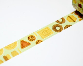 Limited Edition mt Japanese Washi Masking Tape - Cookies 15mm for packaging, tag making, scrapbooking