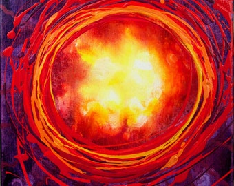 Abstract Red Life Energy Fire Portal 12 x 12 inch Original Acrylic on Canvas Ready to Hang Painting Root Red Chakra