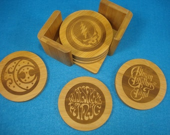 JAM BAND Coaster Set      Set of 6 with Caddy. Great Christmas gift for a Deadhead, Phish Phreak or other Jam Band Fan