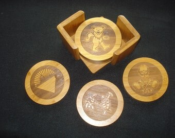 GRATEFUL DEAD Coaster Set - Set of 6 coasters with Caddy. Great gift for a Deadhead. Birthday Gift for Him or Her