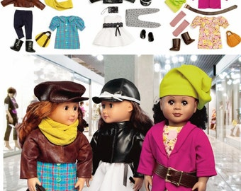 18 inch Doll Clothes Pattern, 18 inch Doll Shopping Day Fashions Pattern, McCall's Sewing Pattern 6804