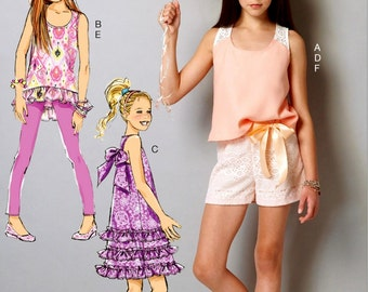 Little Girls' Top and Shorts Pattern, Tween Girls' High Low Top and Leggings Pattern, Girls Sundress Pattern, McCall's Sewing Pattern 7150