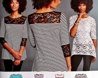 Misses Stretch Knit Tops Pattern, Pullover Tops Pattern, Sz 4 to 26, Simplicity Sewing Pattern 8016