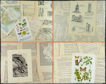 Vintage paper pack, 31 pages, English history, archaeology, old colour maps, gazetteer pages, winged insects, variety pack.