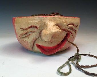 Funny Face Yarn Bowl Handmade Ceramic OOAK