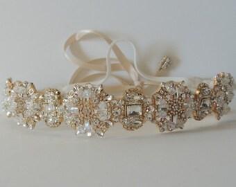 Ada Gold Wedding bridal headpiece crystal headband headpiece satin ribbon vintage inspired art deco style
