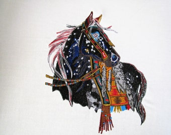 Mystic Warrior Fantasy Native Horse Embroidered Quilt Fabric Block