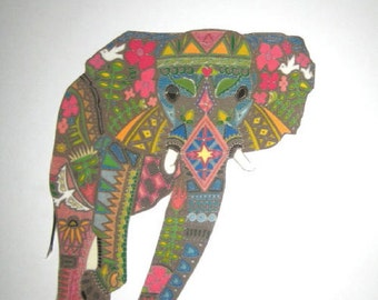 X Large Elephant Iron On Fabric Applique 9""