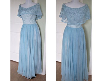 1950s Harold evening gown - elegant design, in a beautiful blue