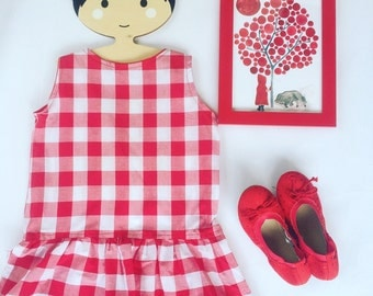 Little Red Riding Hood costume, red riding hood dress, red gingham dress