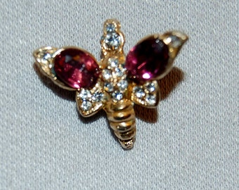 Vintage / Amethyst / Clear / Brooch / Rhinestone / Bee / Wasp / Bug / Insect  /  old / jewelry / jewellery