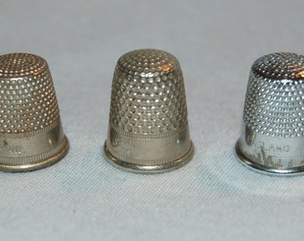 Vintage / England / Germany / Lot / 3 / Thimbles /  Sewing / Tool /