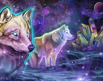 Astral Wolves- Paper Print - 11x17