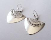 Silver Art Deco Earrings, Statement Earrings, Silver Earrings, Geometric Earrings, Boho Earrings, Sterling, Steel or Plated Lever Backs