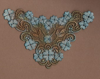 Hand Dyed Venise Lace Applique Graceful Floral  Aged Copper Turquoise