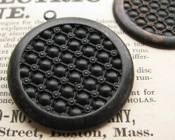 27mm round textured setting, black antiqued brass, 4 brass trays, flat back setting, 27mm brass frame for cabochons, Fallen Angel Brass