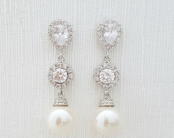 Bridal Earrings Pearl Crystal Wedding Jewelry Cubic Zirconia Pearl Earrings Crystal Wedding Earrings Bridal Pearl Jewelry, Chloe