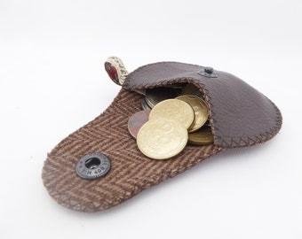 """Men's Coin Pouch Brown Leather and Wool / The """"Mini Gypsy"""" Coin Purse"""
