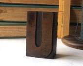 """vintage 20's 2"""" letter U wood letterpress printers block stamp old antique retro decorative home decor aged weathered character small accent"""