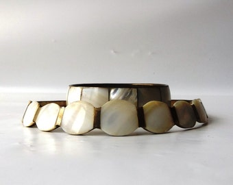 vintage 1970's brass & mother of pearl matching set bangle bracelet choker collar wide white real seashell sea shell womens accessories pair