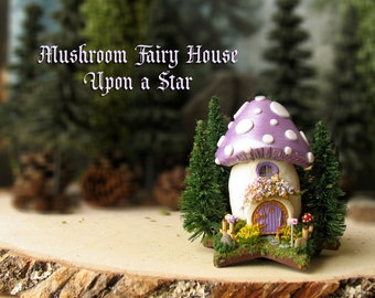 Mushroom Fairy House Upon a Star - Miniature Pearl Grape Purple Capped Woodland Fae House with Pine Trees, Mushrooms and Flowering Bushes