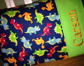 Dinosaur Personalized Travel-size Pillowcase - Toddler Pillow Pillowcase - Kids Pillowcase