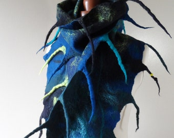 Long Felted Scarf - Blue and Green - unique