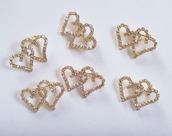 SIX Rhinestone Heart Pin, Rhinestone Pin, Heart Pin, Double Heart Pin