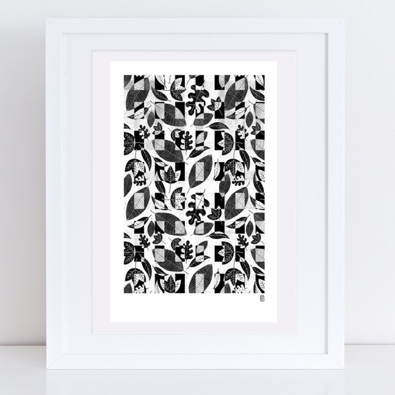 Heligan Black and White Leaves Print