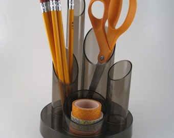 desk caddy - desk organizer - desk accessory - pencil holder - desk tidy - supply holder - supply organizer - 80's smoked plastic