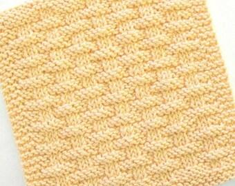 Cotton Dishcloth, Knit Dishcloth, Cotton Face Cloth, Yellow Kitchen Decor, Basketweave Dishcloth